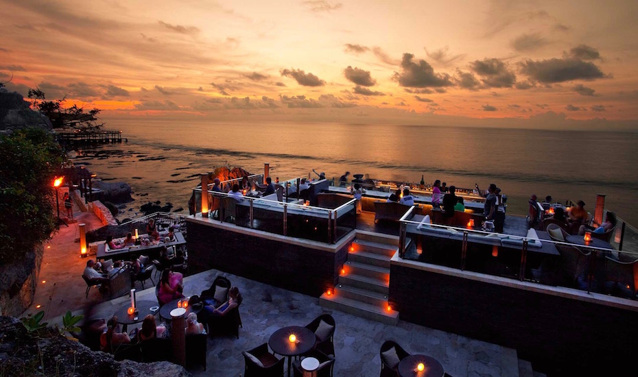 best sunset bar in Bali - rock bar ayana jimbaran