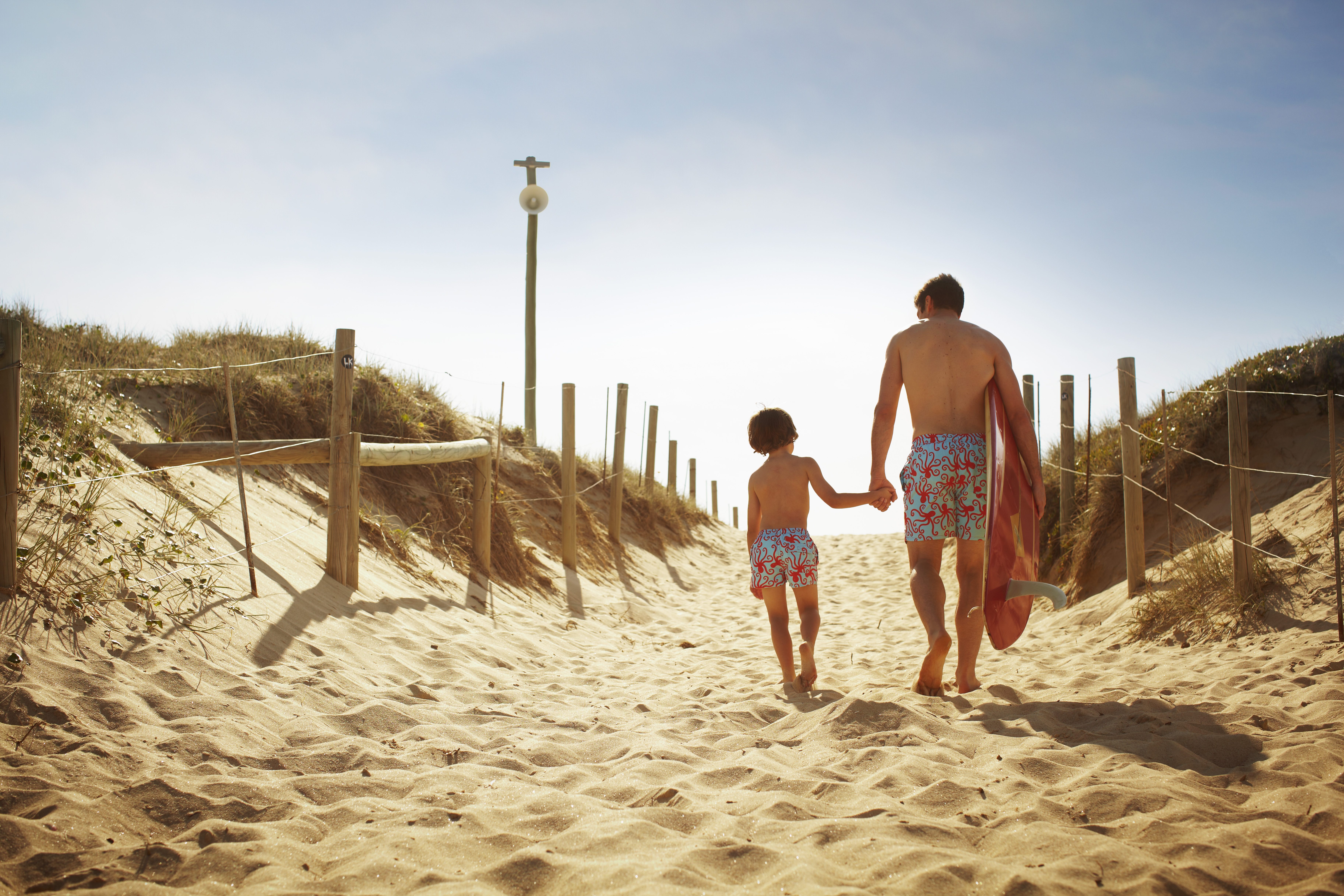 Swimwear For The Men & Boys: Tom & Teddy's Cool Matching Swimming Trunks For Dads And Sons