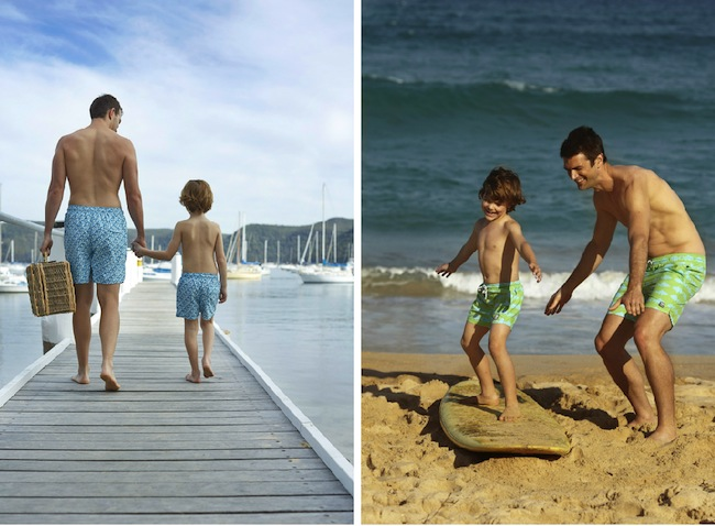 Tom & Teddy's matching swim shorts for father and son.