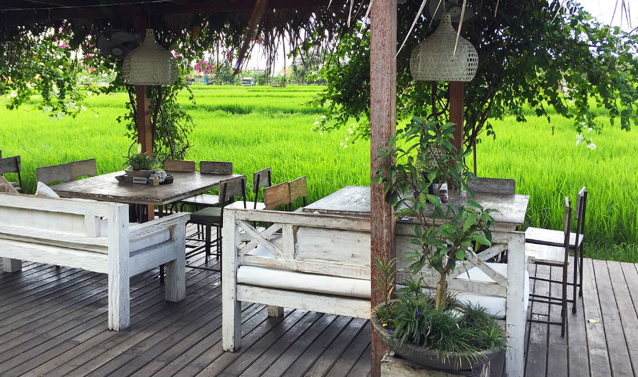 Eat amongst the tropical green rice paddies at NOOK