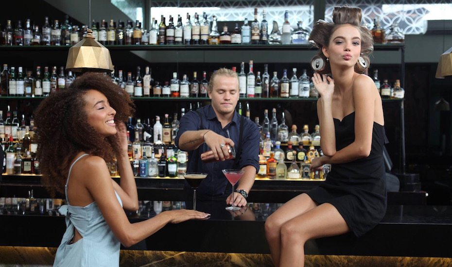 Girls at Blow Bar for cocktails and up-dos in Seminyak - one of the best hair salons in Bali, Indonesia