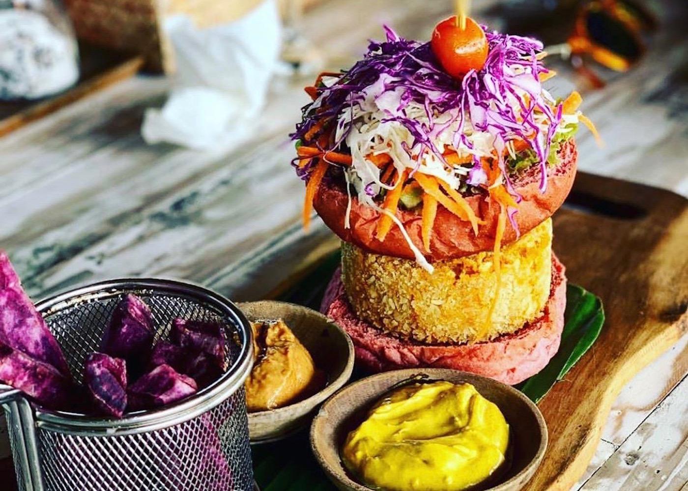 Healthy vegetarian burger at Omburger restaurant in Uluwatu, Bali, Indonesia