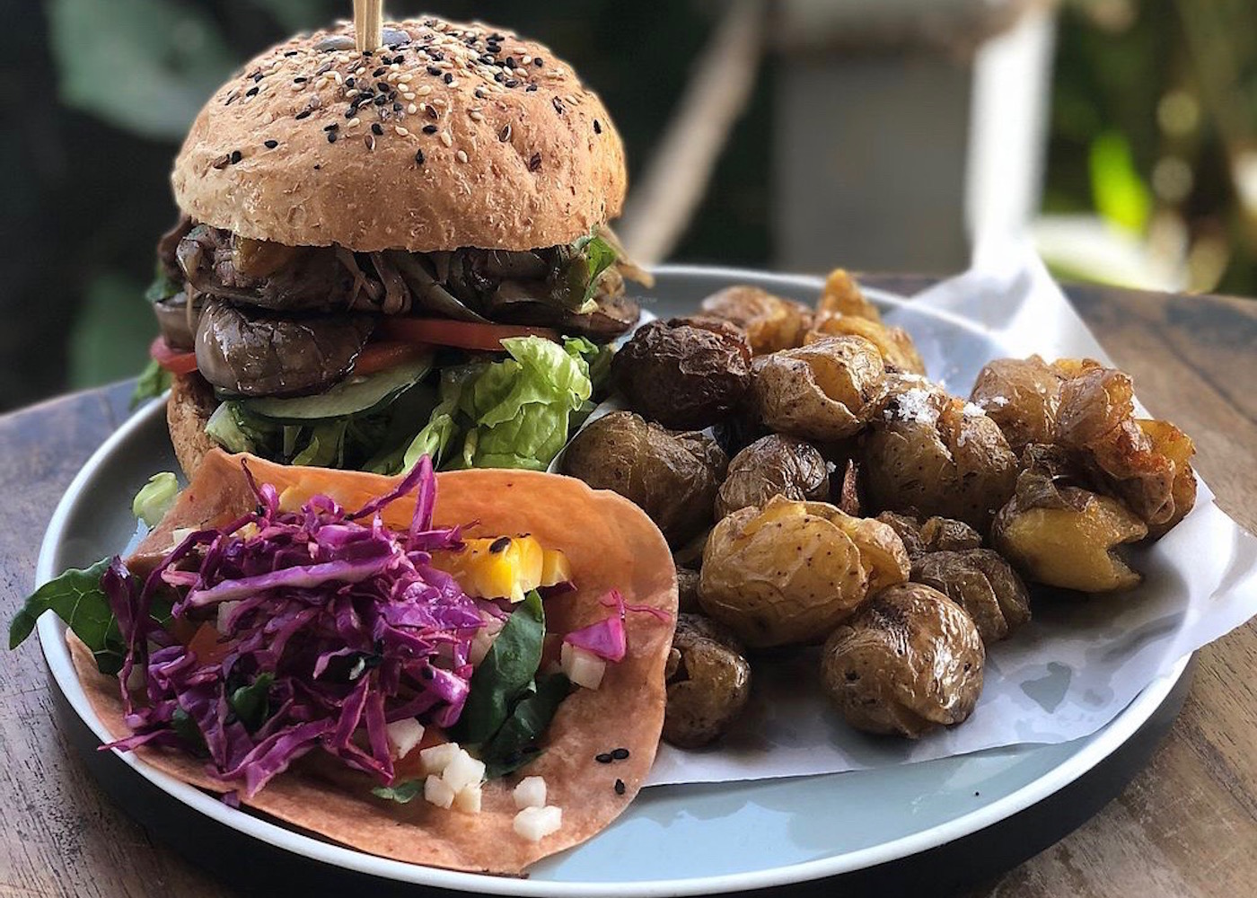 Vegetarian burger at The Shady Shack restaurant in Canggu, Bali, Indonesia