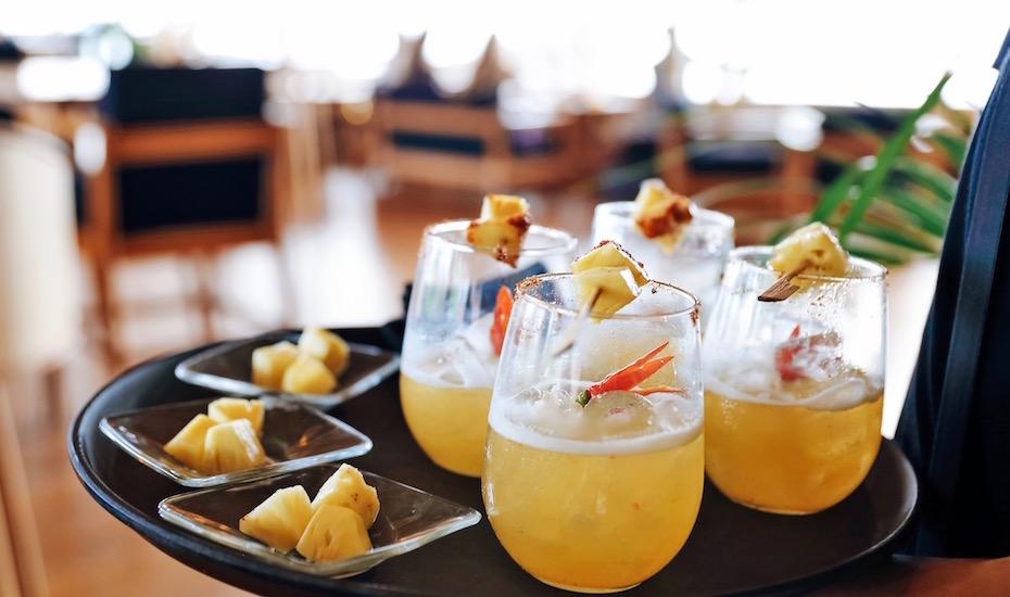 Cocktails and tapas at Finns Beach Club in Canggu, Bali