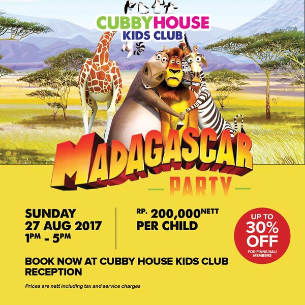 Cubby House Kids Parties – Madagascar Party | Honeycombers Bali