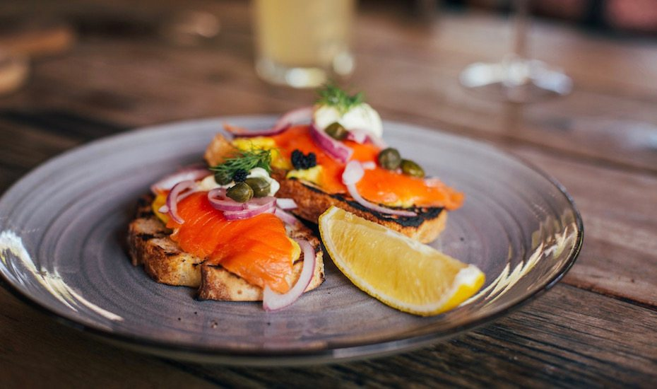 Salmon on toast at Milk & Madu in Canggu, Bali