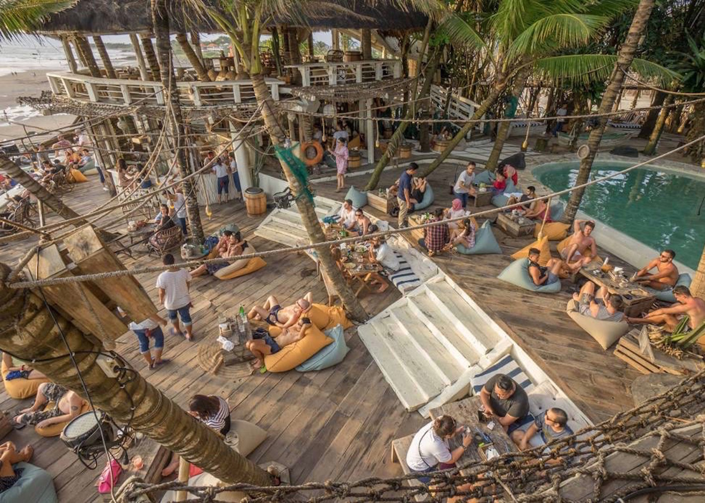 La Brisa beach club on Echo Beach. A favourite bar and sunset spot in Canggu, Bali, Indonesia