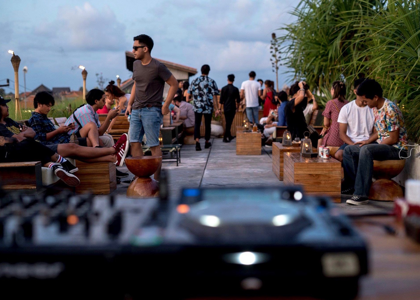 Rooftop cocktail bar at The Slow boutique hotel in Canggu, Bali, Indonesia