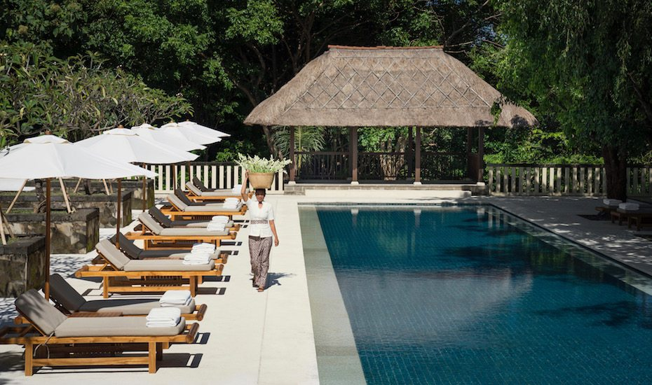 Minimalist architecture and the lap pool at Revivo Wellness Resort - Nusa Dua, Bali