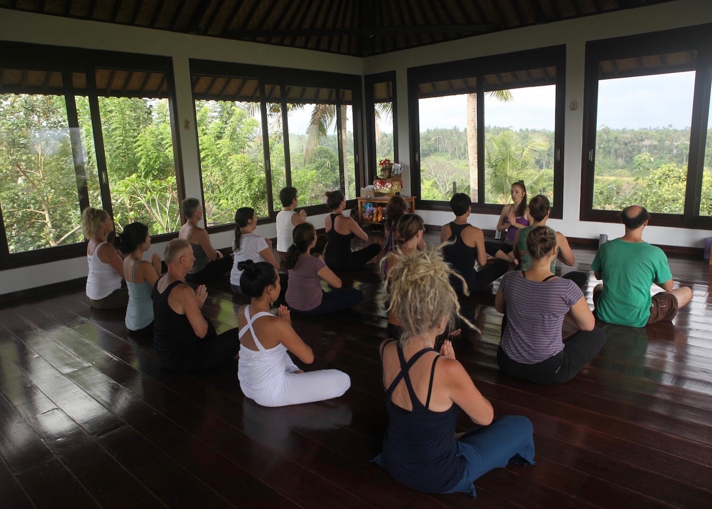 Meditation at Intuitive Flow yoga studio in Ubud, Bali, Indonesia