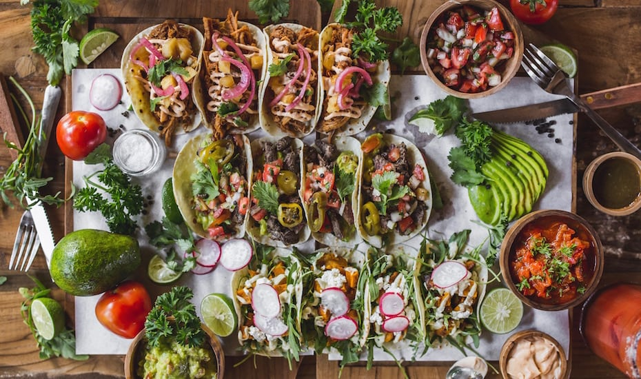 Spread of tacos at La Bandida restaurant in Canggu, Bali