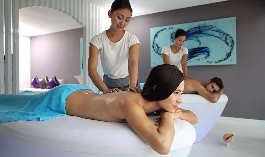 Couples massage treatment at Aqcua Perla Spa at Double Six Hotel in Seminyak - one of the best spas in Bali, Indonesia