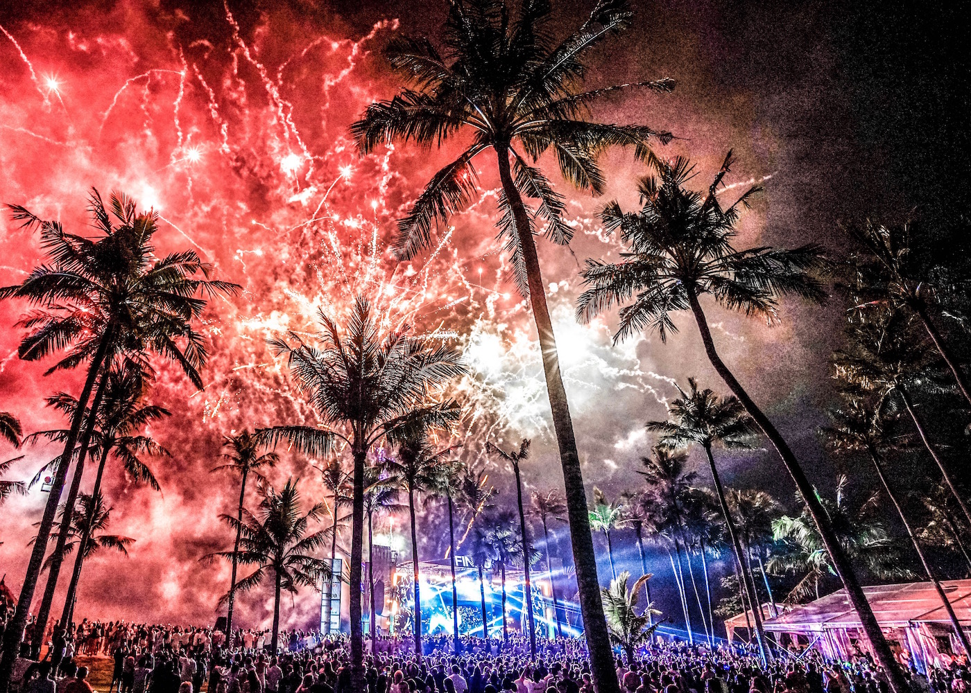 New Year's Eve party in Bali at Finns Beach Club in Canggu, Indonesia