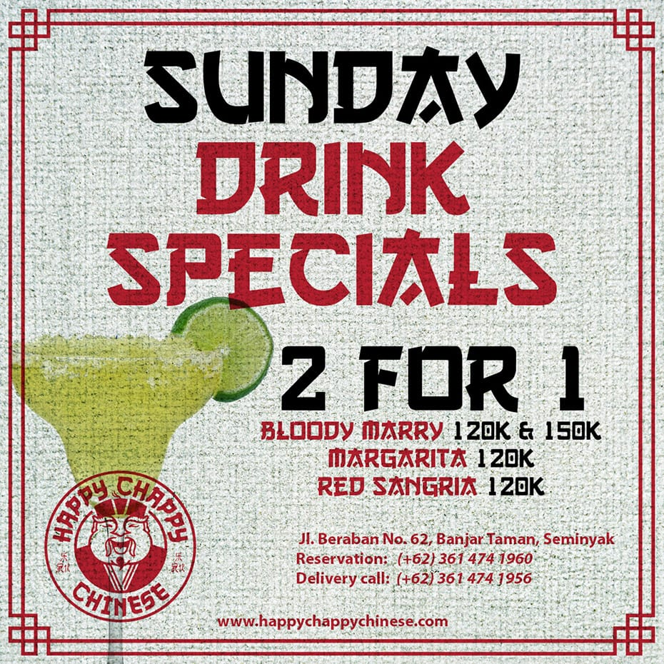 Happy Chappy Chinese Sunday Drink Specials