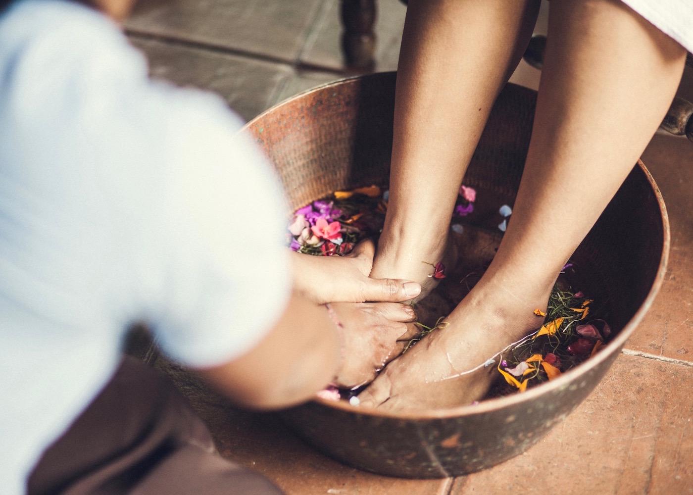Foot ritual at Desa Seni spa in Canggu - one of the best spas in Bali, Indonesia