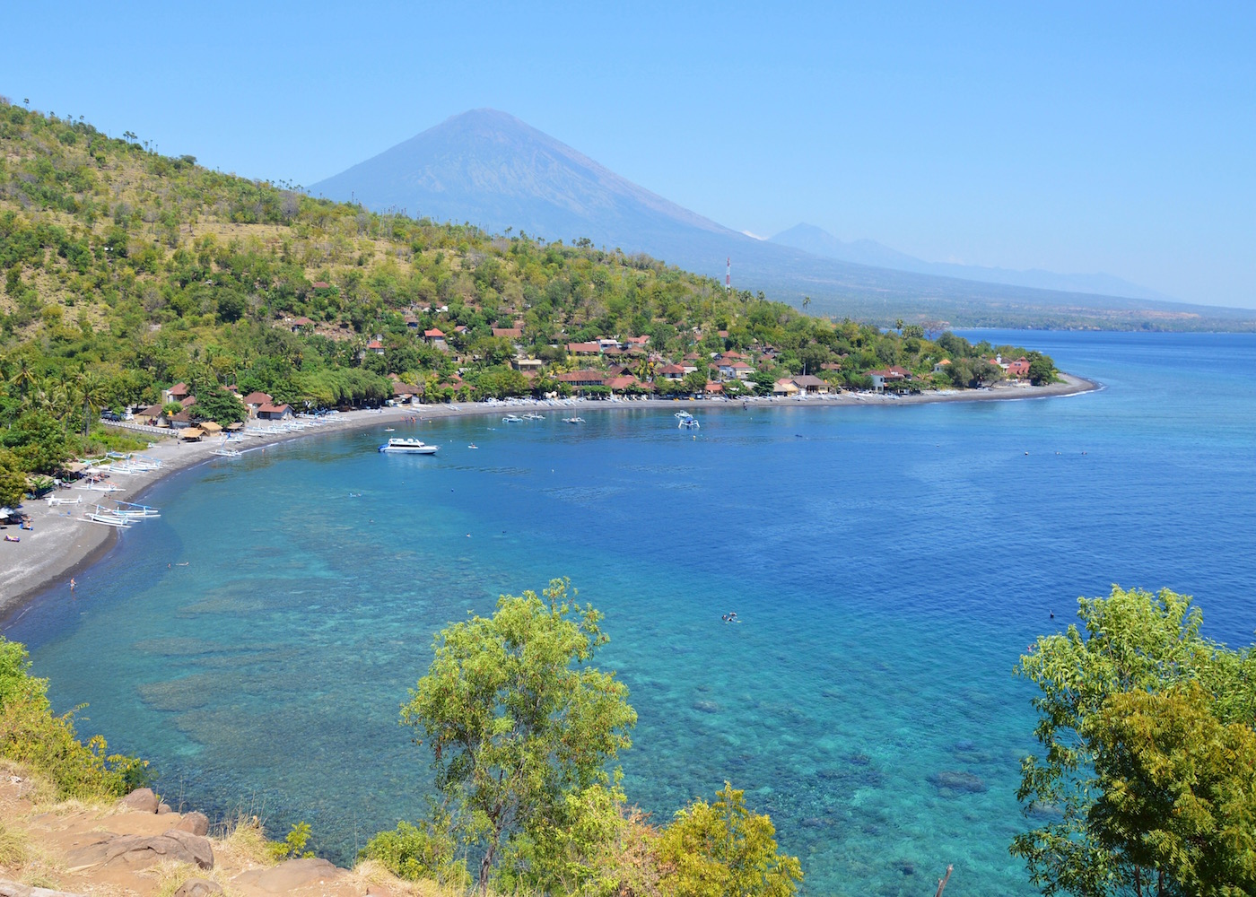 View of Amed Beach with Mount Agung in the background of North Bali, Indonesia