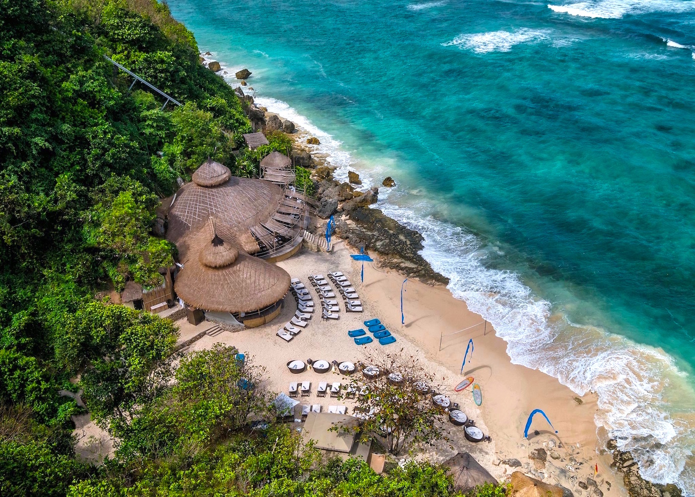 Aerial view of Karma Beach Club in Uluwatu, Bali, Indonesia