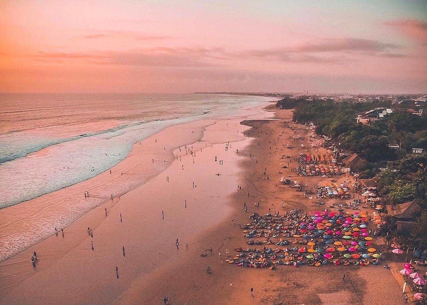 Sunset over Seminyak Beach in Bali, Indonesia