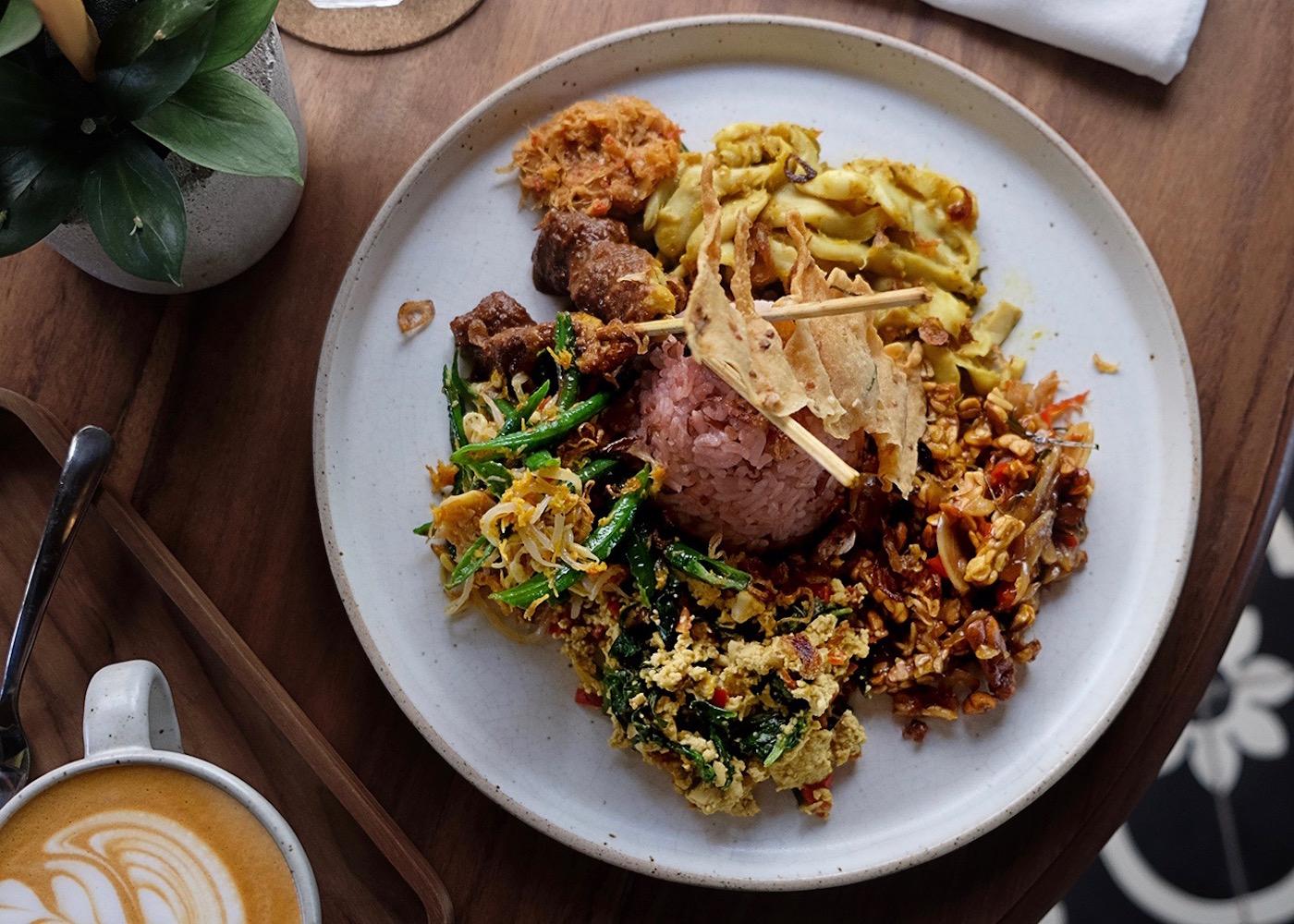 Indonesian lunch at Manggis in Canggu - a vegan and vegetarian restaurant in Berawa, Bali, Indonesia