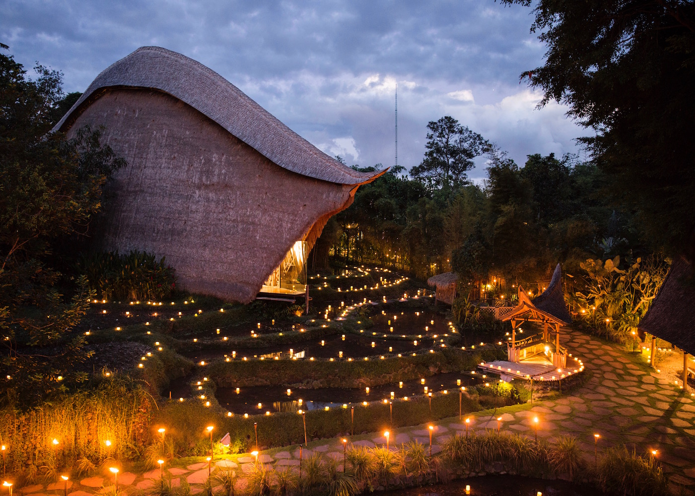 Floating over the rice fields, John Hardy's Kapal Bamboo Boutique in Ubud takes after the shape of a sailing boat