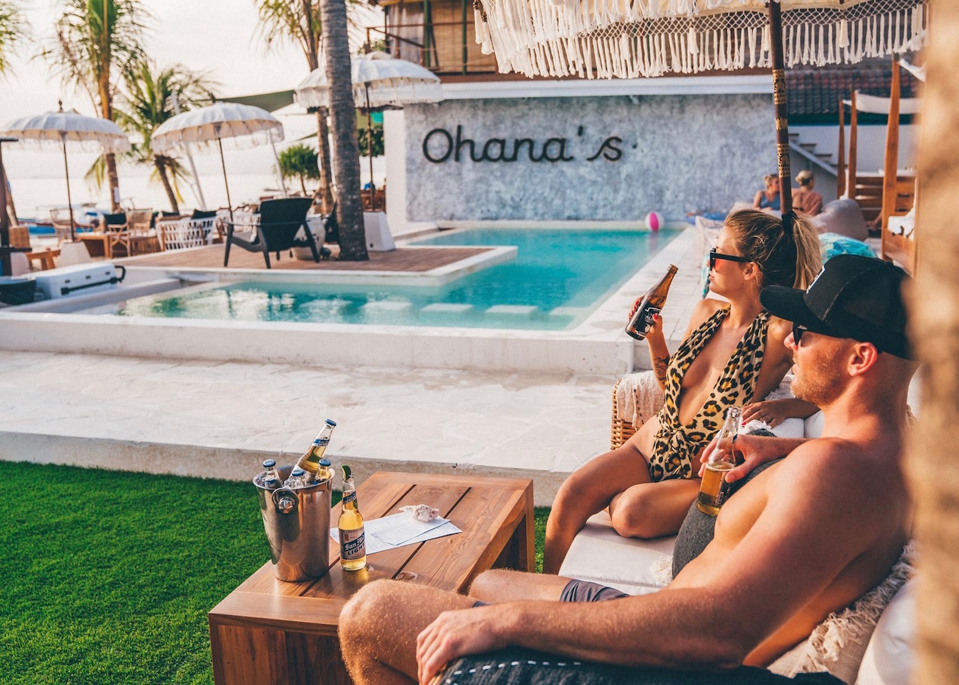 Poolside beers at Ohana's beach club & restaurant on Nusa Lembongan in Bali, indonesia