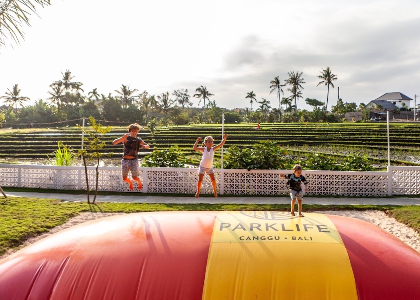 Kids playing at Parklife - a family-friendly playground, park and restaurant in Canggu, Bali - Indonesia