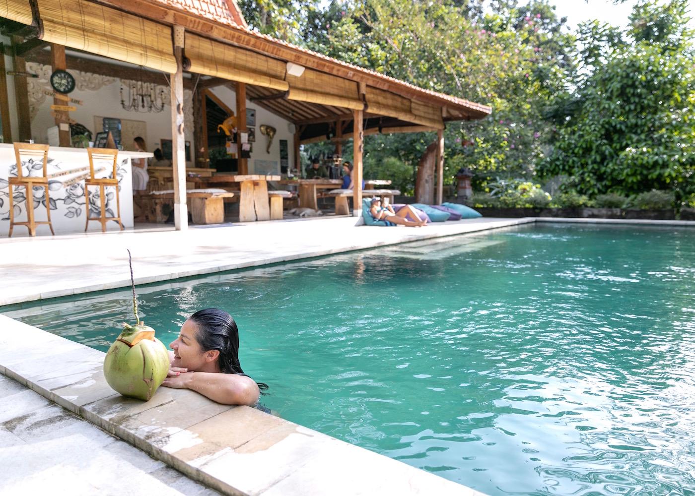 Swimming pool at Pelan Pelan - a surf & yoga retreat in Canggu Bali, Indonesia