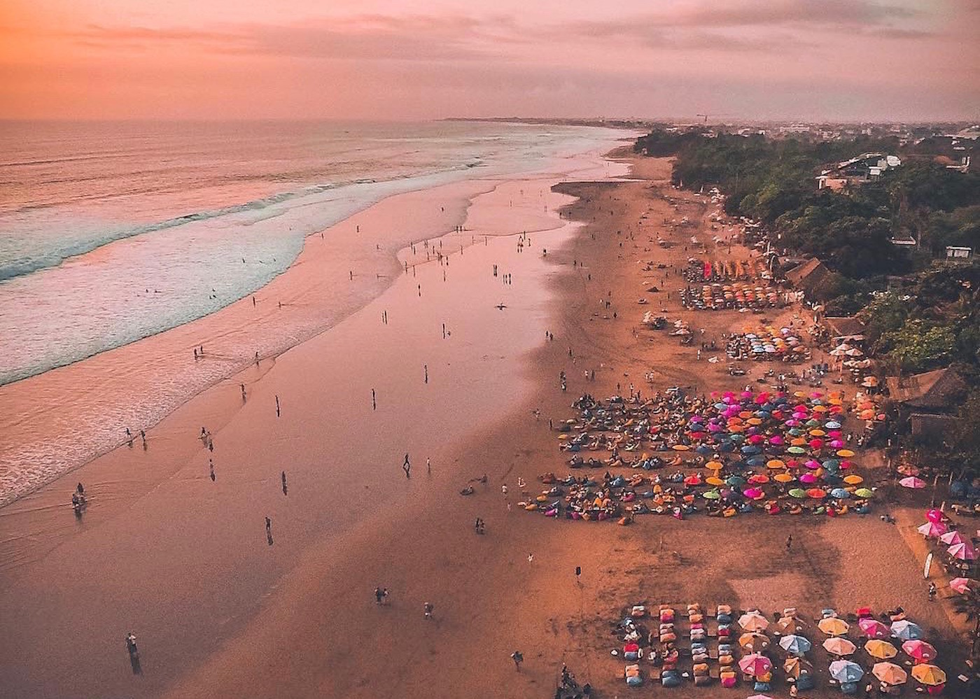 Sunset over the colourful Seminyak Beach in Bali, Indonesian