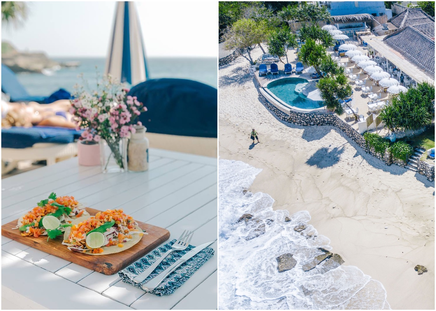 Tacos & view of Sandy Bay Beach Club & restaurant on Nusa Lembongan in Bali, indonesia
