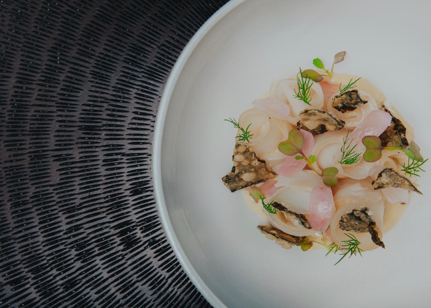 Seafood dish at Seasalt restaurant at Alila Seminyak in Bali, Indonesia