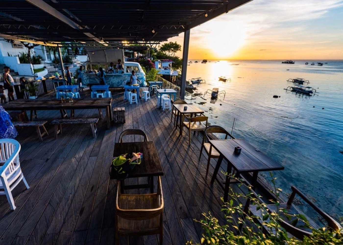 Thai Pantry restaurant at sunset on Nusa Lembongan island in Bali, Indonesia