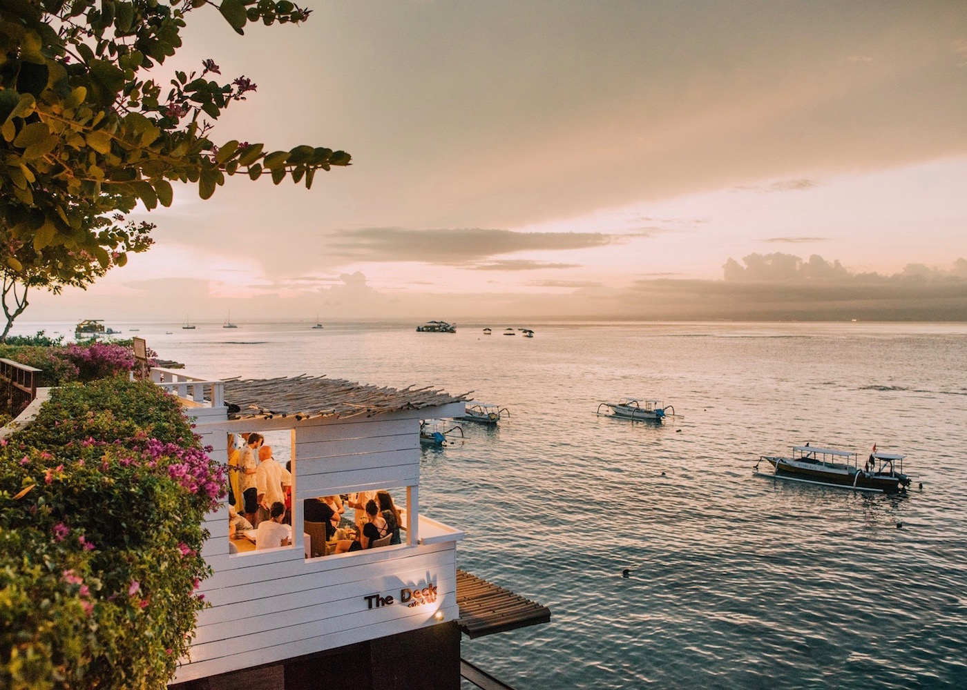 Sunset at The Deck restaurant & bar on Nusa Lembongan in Bali, Indonesia