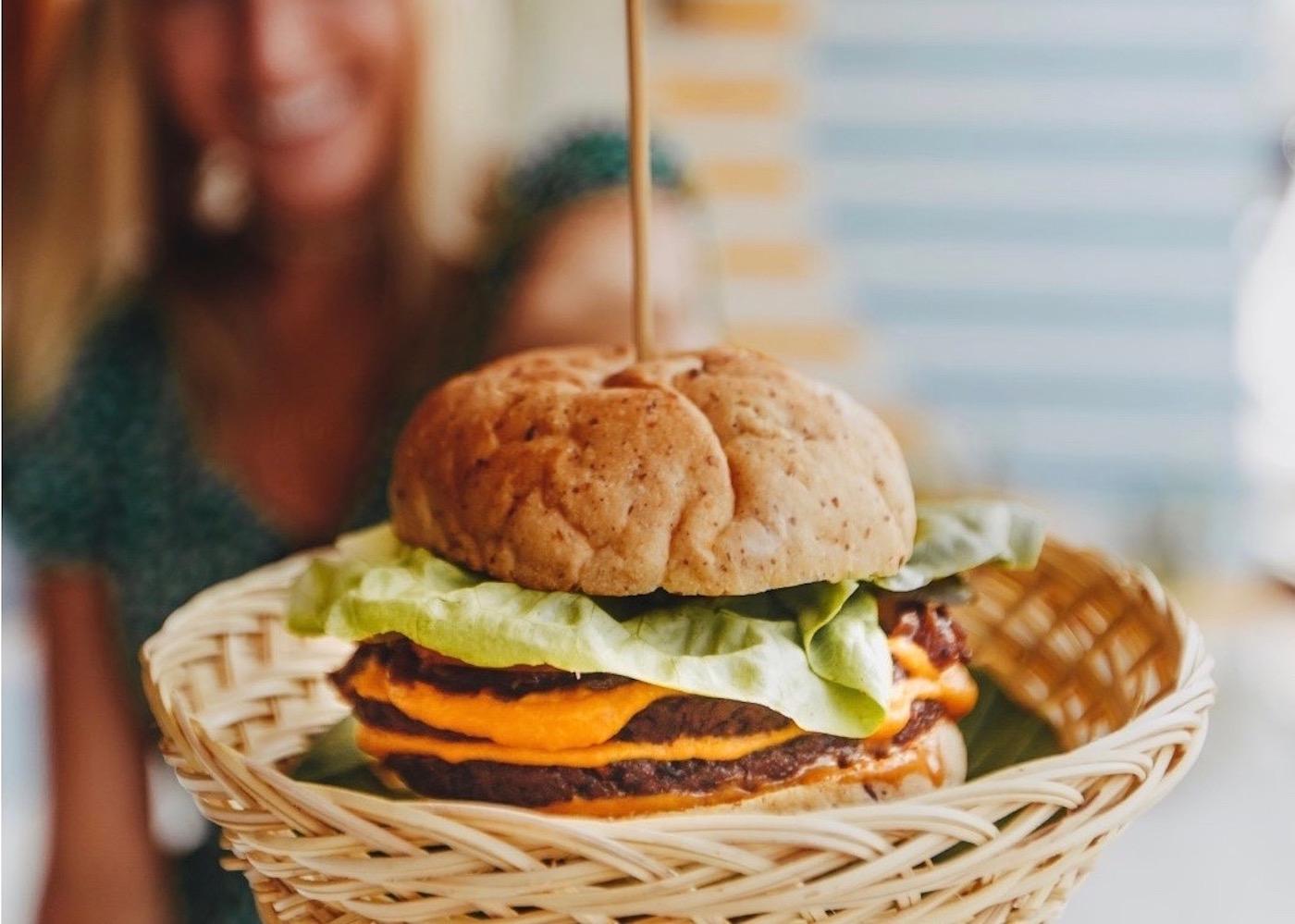 Vegan Cheese Burger at Plant Cartel in Canggu, Bali, Indonesia