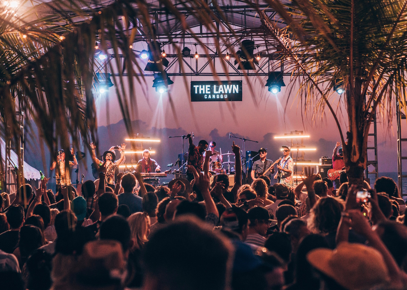 Party with live band at sunset at The Lawn beach club in Canggu, Bali, Indonesia