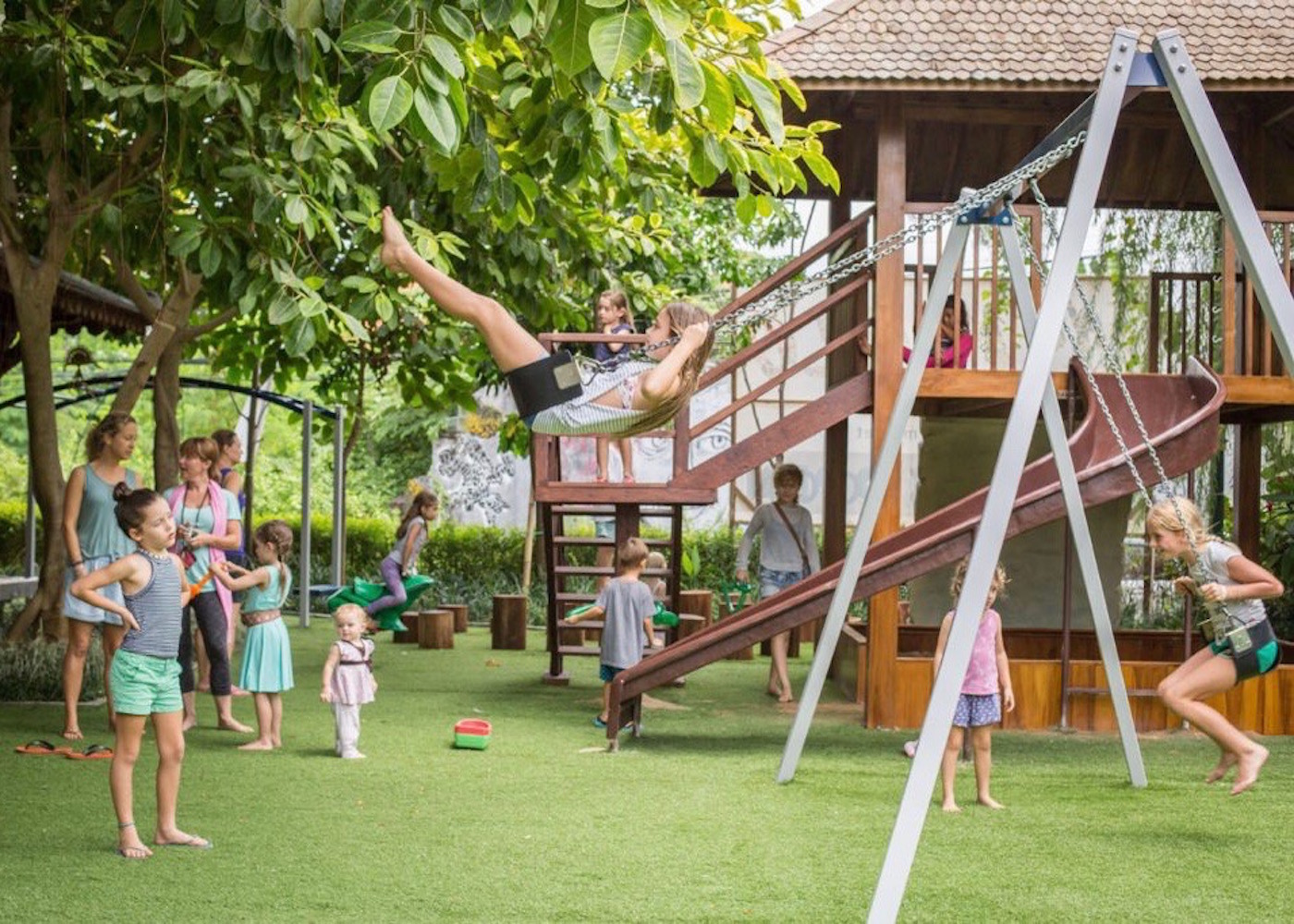 Kids playground at Made's Warung - a family-friendly restaurant in Canggu, Bali, Indonesia