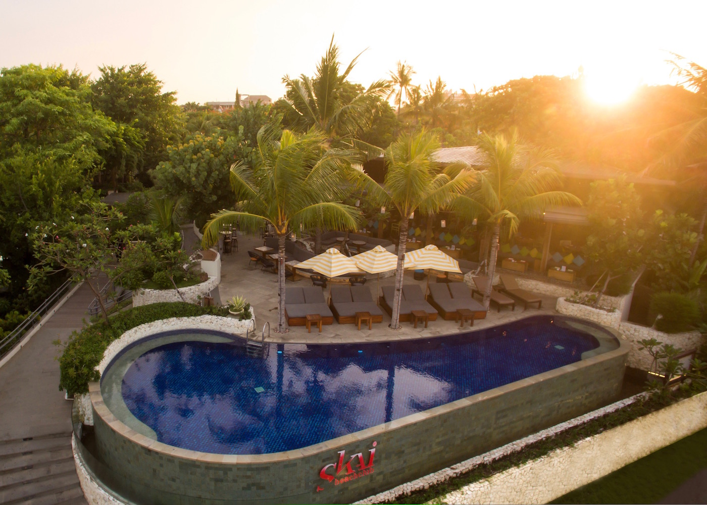 SKAI Beach Club at sunset Legian Bali Indonesia