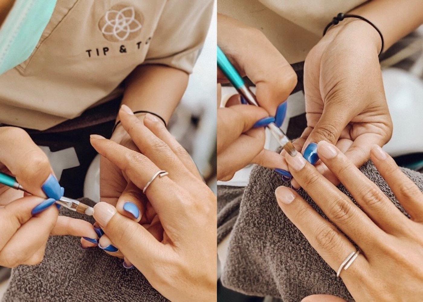 Manicure at Tip & Toe Nail Salon at Tamora Gallery in Canggu, Bali, Indonesia