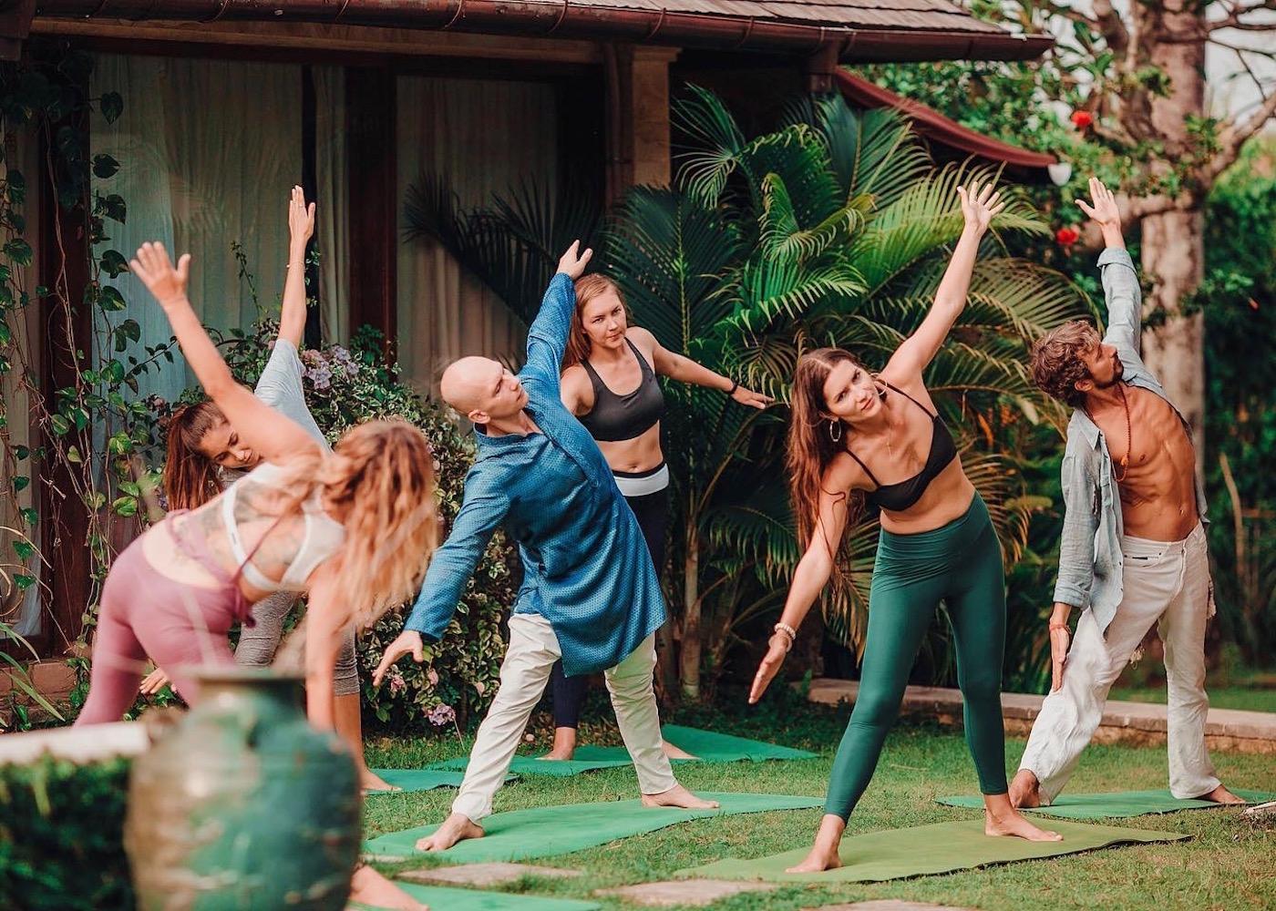 Garden yoga at Tru Love Unity in Umalas, Bali, Indonesia