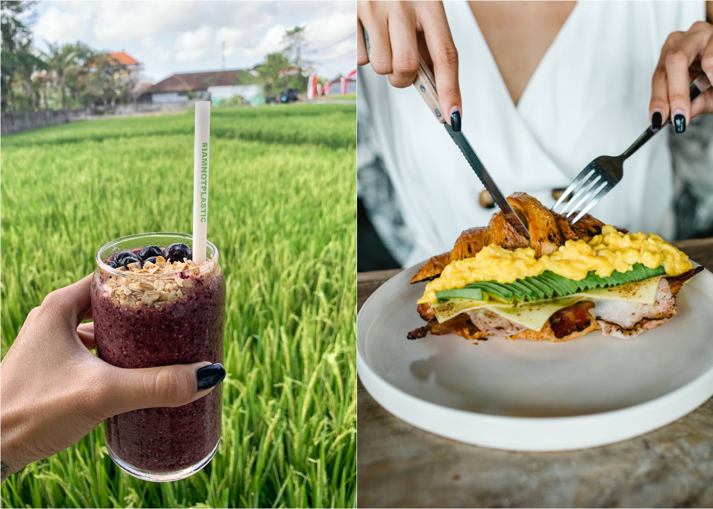 The Avocado Factory brunch with views of Canggu's rice fields in Bali, Indonesia