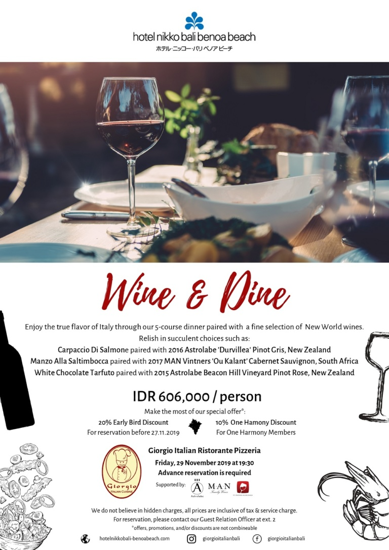 Wine and Dine at Giorgio Italian Bali