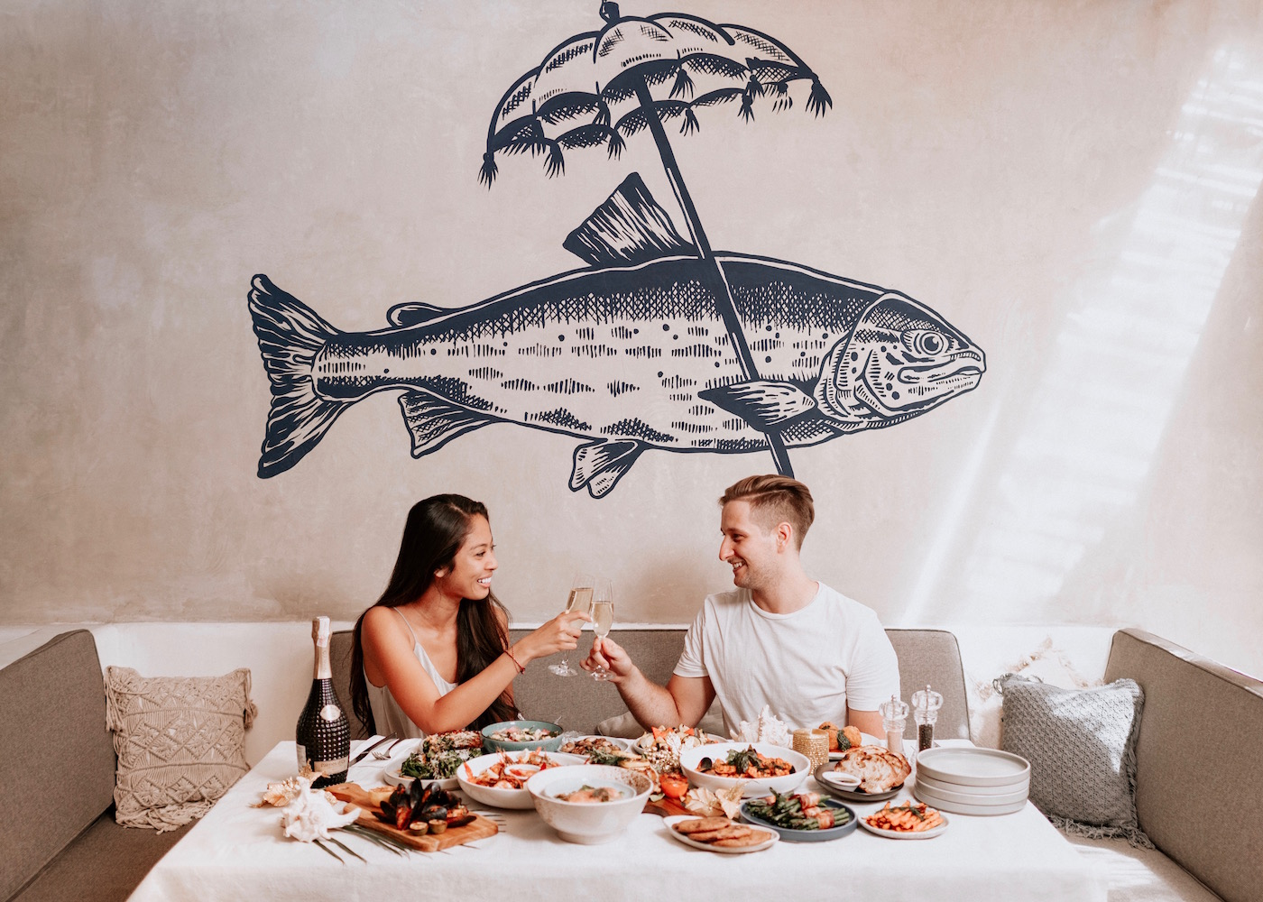 Feast on a seafood brunch spread at Hippie Fish