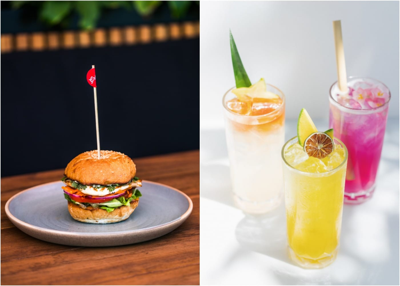 Burger and cocktails from Grill'd in Seminyak, Bali, Indonesia
