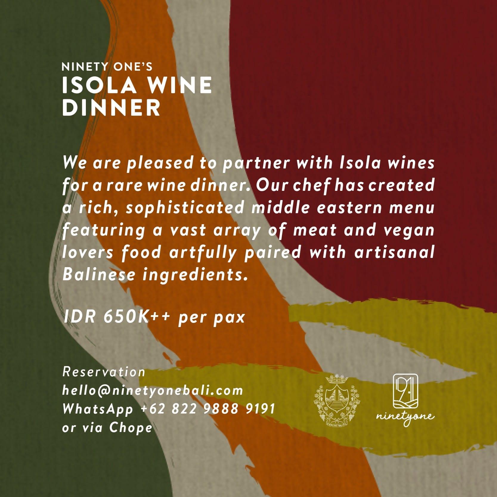 Isola Wine Dinner at Ninety one