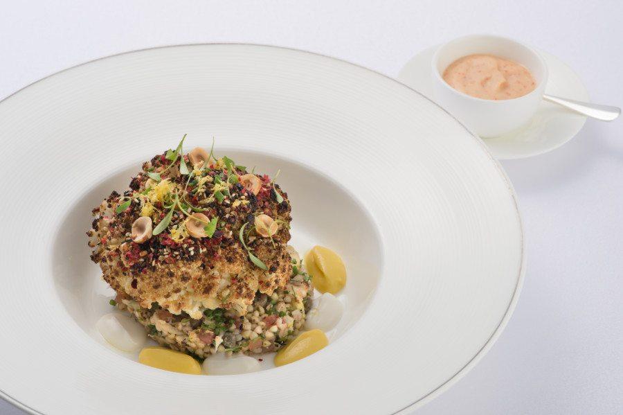 Café Gray Deluxe The Upper House Hong Kong vegetarian vegan gluten free restaurant Revitalising Menu Whole Roasted Cauliflower with Spiced Dukkah