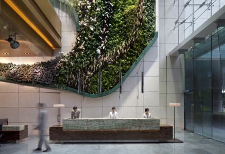 Hotel Icon Hong Kong staycation Tsim Sha Tsui interior design green wellness food Green Installation at Lobby