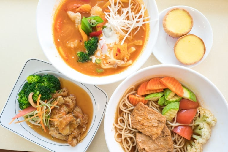 Sample vegan egg tarts and delicious Asian noodle soups at Loving Hut Wan Chai