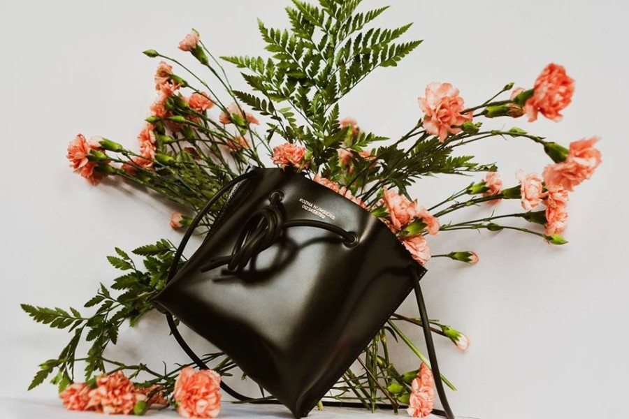 shop bags in Hong Kong Kozha numbers black tote bag with flowers