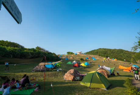 camping in Hong Kong Tap Mun tents at a campsite