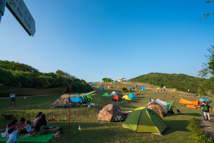 camping in Tap Mun tents at a campsite