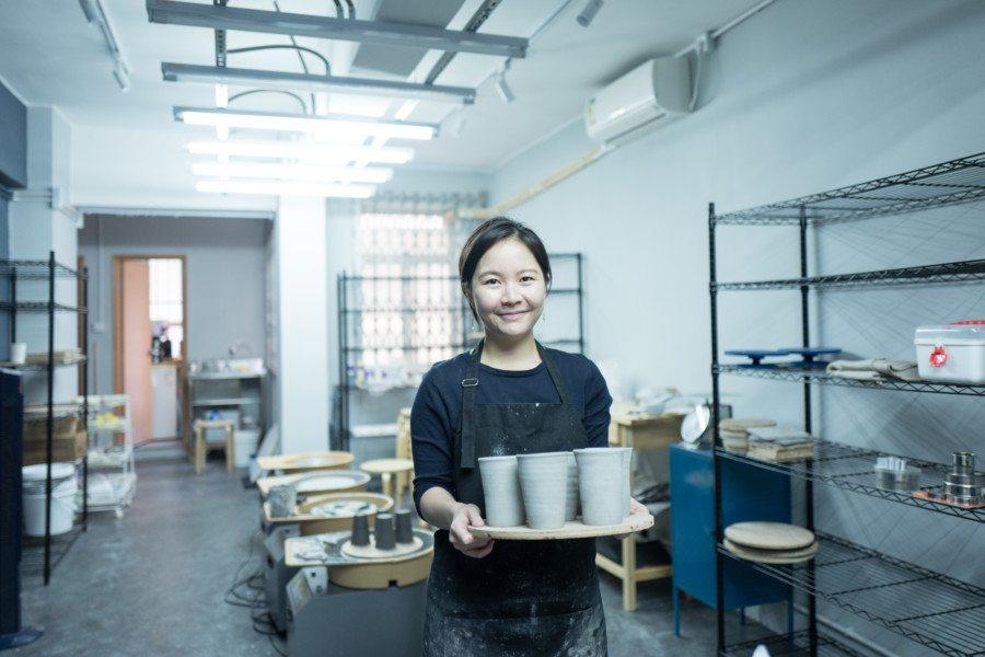 Carol Luk Deer Workshop pottery classes ceramics pottery standing